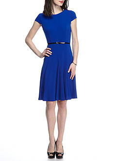 Laura Jeffries Solid Belted Fit and Flare Dress