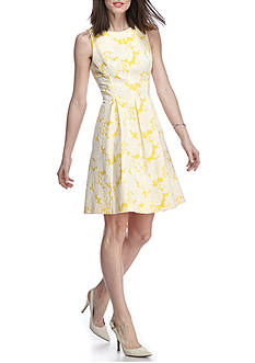 J Howard Floral Jacquard Fit and Flare Dress