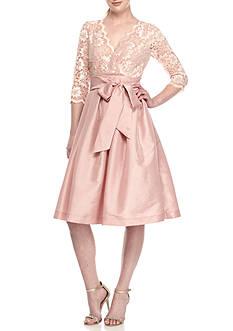 Jessica Howard Lace Top Three-Quarter Sleeve Taffeta Dress