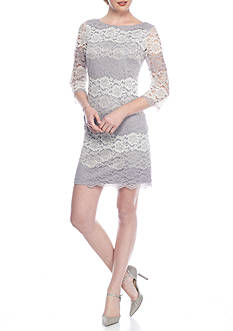 J Howard Colorblock Floral Lace Shift Dress