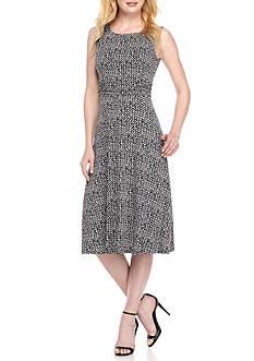Laura Jeffries Printed Ruch Waist A-Line Dress
