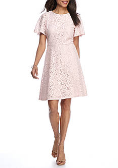 J Howard Lace Flutter Sleeve A-Line Dress