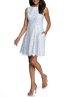 J Howard Lace Inset A-Line Dress