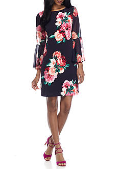 Jessica Howard Floral Printed Bell Sleeve Shift Dress