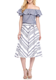 Jessica Howard Off the Shoulder Two-Piece Skirt Set
