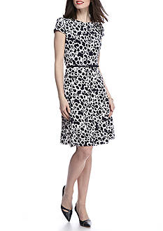 Laura Jeffries Printed Belted Fit and Flare Dress
