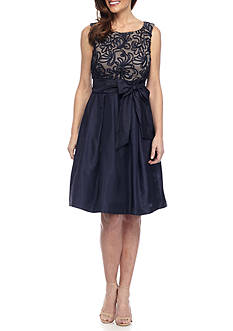 J Howard Sleeveless Tie Waist Dress with Pleated Skirt
