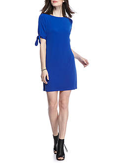 Laura Jeffries Solid Tie Sleeve Shift Dress