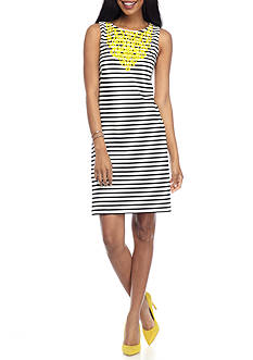 Jessica Howard Embroidered Stripe Sheath Dress