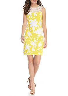 J Howard Sheath Lace Trim Neckline Dress
