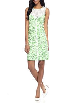 Jessica Howard Plus Size Shift Lace Yoke Dress