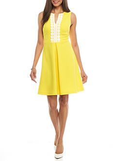 J Howard Solid Crochet Trim Dress
