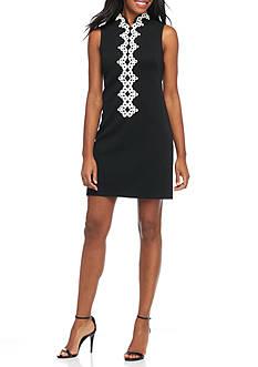 Jessica Howard Sleeveless Crochet Front Shift Dress