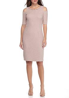 J Howard Cold Shoulder Sparkle Sheath Dress