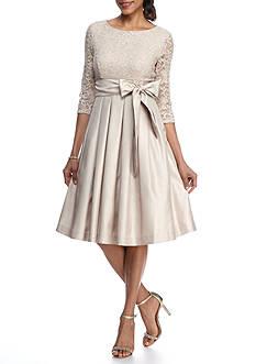 J Howard Glitter Lace Tie Waist Cocktail Dress