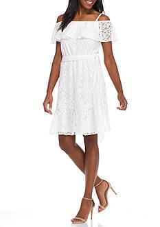 Jessica Howard Sleeveless Ruffle Lace Dress