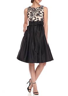 Jessica Howard Soutache Sleeveless Taffeta Dress