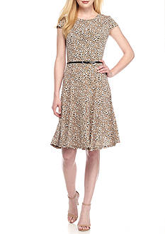 Laura Jeffries Polka Dot Fit-and-Flare Belted Dress