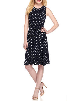 Jessica Howard Polka Dot Fit and Flare Belted Dress