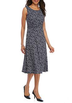 Laura Jeffries Printed Ruch Waist Sleeveless Dress
