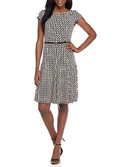 J Howard Printed Cap Sleeve Belted Dress