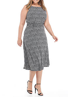 Laura Jeffries Plus Size Printed Ruched-Waist A-line Dress