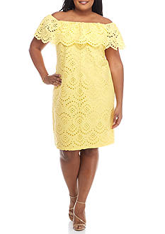 Jessica Howard Plus Size Eyelet Ruffle Off the Shoulder Dress