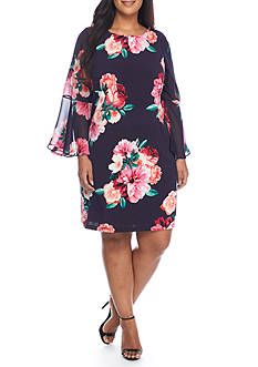 Jessica Howard Plus Size Floral Bell Sleeve Dress