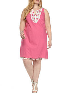 J Howard Plus Size Embroidered Shift with Pom Pom Hem Dress