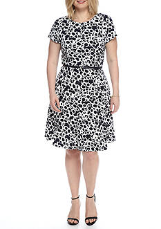 Laura Jeffries Plus Size Printed Belted Fit and Flare Dress