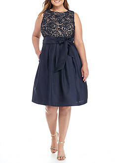 J Howard Plus Size Sleeveless Tie Waist Dress with Pleated Skirt