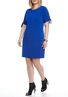 Laura Jeffries Plus Size Solid Tie Sleeve Shift Dress