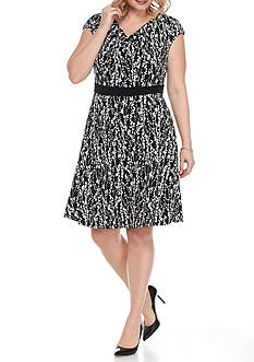 Laura Jeffries Plus Size Printed Drape-neck Fit and Flare Dress