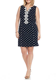 J Howard Plus Size Dot Shift Dress