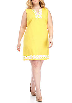 J Howard Plus Size Crochet Trim Shift Dress