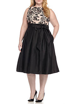 Jessica Howard Plus Size Soutache Sleeveless Taffeta Dress