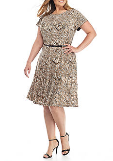 Laura Jeffries Plus Size Polka Dot Fit and Flare Belted Dress