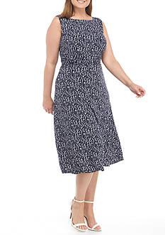 Laura Jeffries Plus Size Printed Ruched Waist Sleeveless Dress