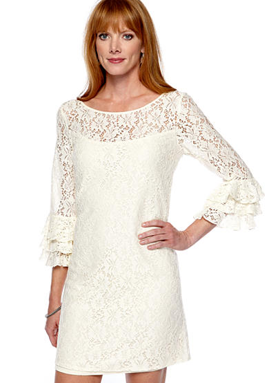 Ruffled Cuff Lace Dress
