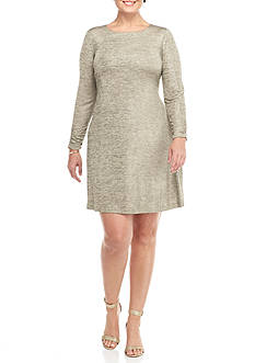 Jessica Howard Plus Size Ruched Sleeve Trapeze Dress