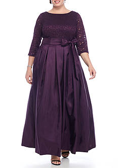 Jessica Howard Plus Size Lace and Sequin Bodice Gown