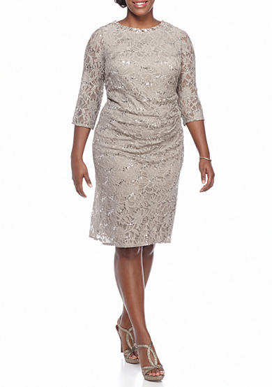 Jessica Howard Plus Size Lace and Sequin Sheath Dress