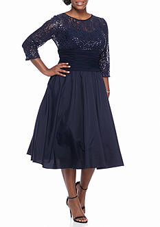 Jessica Howard Plus Size Lace and Sequin Bodice Party Dress