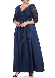 Jessica Howard Shawl Collar Taffeta Gown
