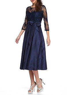 Jessica Howard Sheer Lace Bodice Fit and Flare Dress