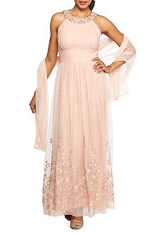 Jessica Howard Bead Embellished Gown with Shaw