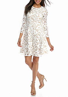 Jessica Howard Bell-Sleeve Fit and Flare Lace Dress