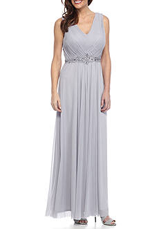 Jessica Howard Sleeveless Dress with Long Shirred Skirt