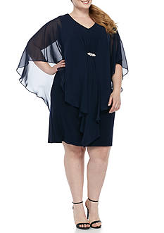 Jessica Howard Plus Size Capelet Overlay Sheath Dress