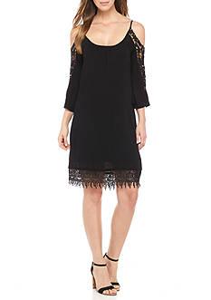 Amanda Charles Cold Shoulder Crochet Sleeve Dress
